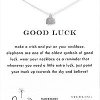 Dogeared Good Luck Elephant Delicate Necklace - Silver