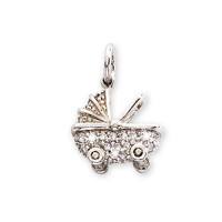 Sterling Silver CZ Baby Carriage Charm