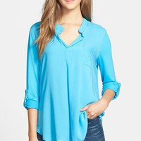 Women's Pleione Mixed Media Roll Sleeve Top