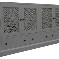 Beverly Mirrored Media Cabinet with Laser Cut Panel Doors