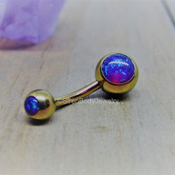 "Purple opal belly button ring 14g rose gold titanium internally threaded 3/8"" length curved barbell"