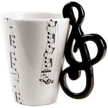 BUYNEED Novelty Mugs | Lovely Fashion Unique Cool Coffee Milk Ceramic Tea Mug Cup With Guitar Musical Note Best Gift(Black&White)