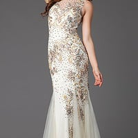 Floor Length Sleeveless Embellished Prom Dress