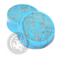 Aztec Face Engraved Turquoise Plugs