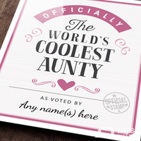 Aunty Gift, For New Aunty! Birthday Gift For Aunty! Aunty To Be,  Aunty Print, Picture Frame, Personalized And Delivered Direct To Your Door