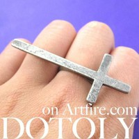 Large Adjustable Cross Shaped Statement Ring in Silver | DOTOLY