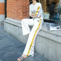 """Adidas"" Women Casual Fashion Multicolor Stripe Letter Short Sleeve T-shirt Split Wide Leg Pants Trousers Set Two-Piece Sportswear"