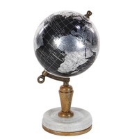 Desk Pu Wood Metal World Globe - 94476 by Benzara