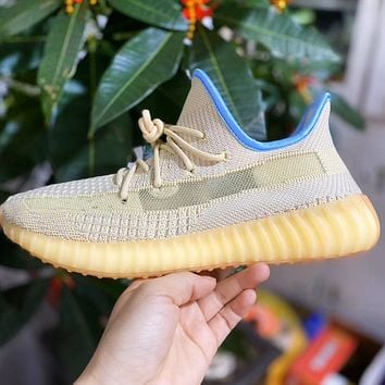 ADIDAS YEEZY 350 New Style Sneakers Yellow blue edge Shoes