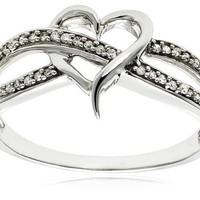 14k White Gold Diamond Heart Ring (1/10 cttw, H-I Color, I2 Clarity)