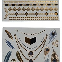 Temporary Metallic Gold & Silver Shimmer Jewelry Tattoo | High Quality Lasting Color | 2 Sheets | Women Men and Girls Get Noticed or Money Back