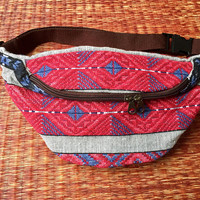 Fanny pack Southwestern festival boho bag Aztec tribal style pattern fabric belt belly Pouch Travel phanny waist Ikat Hippies Bohemian Red