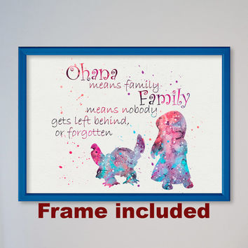 Lilo and Stitch Quote from Lilo & Stitch Disney Watercolor illustrations, Art Print, Nursery Art Wall Decor gift for daughter FRAMED