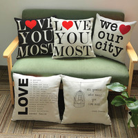 Free Shipping Printed Letters Series Cotton Linen Cushion No Core Throw Pillows Sofa Office Back Baby Room Decorative 45*45cm