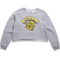 University of Michigan Shadow Arch & Wolverine Head Women's Cropped Crewneck Sweatshirt Heather Grey
