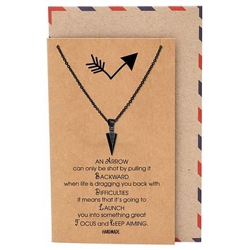 Remi Black Arrow Pendant Necklace, Handmade Gifts for Women with Inspirational Greeting Card