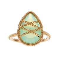 Green Chalcedony 18k Gold Over Silver Teardrop Ring