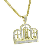 Last Supper Jesus Pendant Crucifix Of Christ 14K Gold Finish Stainless Steel Franco Necklace