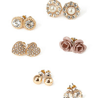 FOREVER 21 Rhinestone & Rosette Stud Set Gold/Cream One