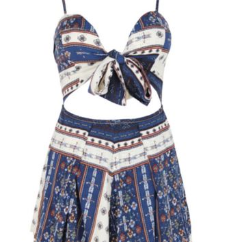 Chest strap hollow bow sexy halter jumpsuit
