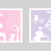 White on Pink Lavender Enchanted Forest Animals CUSTOMIZE YOUR COLORS 8x10 Prints, set of 2, nursery decor nursery print art baby room decor