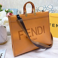 Hipgirls Fendi Fashion new letter print leather shoulder bag handbag crossbody bag Brown