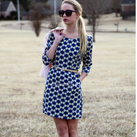 Miss Minnie Blue & Gold Bow Print Dress