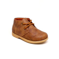 Toddler's Camel Faux Leather Lace Up Shoe