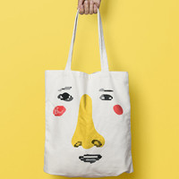 Canvas Tote Bag Personalized Face - Printed Tote Bag - Market Bag - Cotton Tote Bag - Large Canvas Tote - Funny Quote Bag - Face Tote Bag