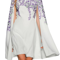 White Embroidery Floral Split Sleeve Shift Cape Dress