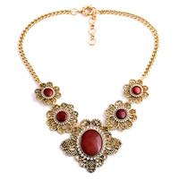 Vintage Golden-Tone Oval Bib Necklace