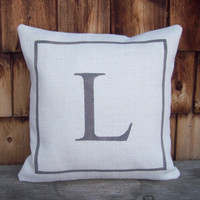 Initial Pillow Cover 16 x 16 by North Country Comforts - Burlap Pillow Cover - Decorative Pillow Cover