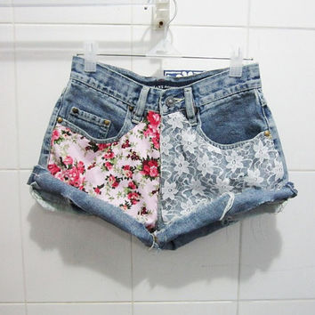 Make To Order - Hipster High Waist  Floral Pink Printed and White Lace Cut Off Shorts