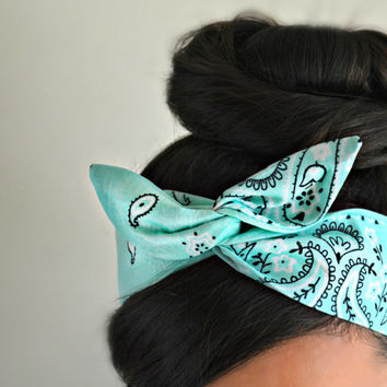Mint Paisley Dolly bow Headband, hair bow head band
