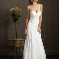 White & Silver Ruched Chiffon Floral One Shoulder Sweetheart Wedding Gown - Unique Vintage - Homecoming Dresses, Pinup & Prom Dresses.