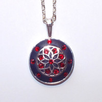 Purple Crystal Clay Necklace Pendant with Red Swarovski Crystals and Metal Work