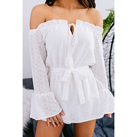 Just Can't Wait Lace Crochet Off The Shoulder Romper (Ivory)