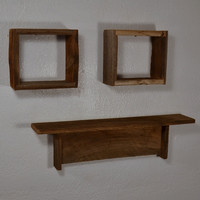 Shadowbox wall shelves and cool shelf from rustic barn wood set of 3