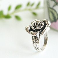Rose Ring Silver Ring Sterling Ring .925 Silver Ring Personalized Ring