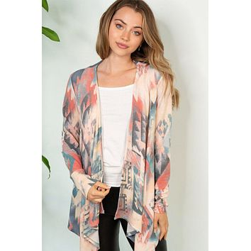 Write Your Story Coral Teal Aztec Cardigan