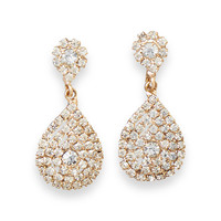 Elegant Gold Tone Crystal Pear Drop Clip On Fashion Earrings