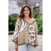 Angela Mixed Animal Print Sweater, Olive Multi