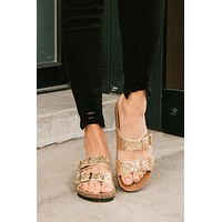 Sparkle in My Step Buckle Strap Sandals (Gold Glitter)