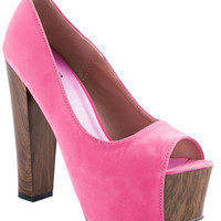 Candy Pink Soft Suede Peep Toe Shoes - Footwear - desireclothing.co.uk