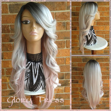 ON SALE// Silver/Pink Ombre Lace Front Wig,  Long Curly Gray/Silver Mermaid Wig, Silver Dark Rooted Bombshell Wig // FROZEN (Free Shipping)