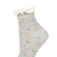 Grey Floral Ditsy Ankle Socks - Ankle Socks - Tights & Socks - Clothing - Topshop USA
