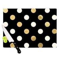 "KESS Original ""Golden Dots"" Black Gold Cutting Board"