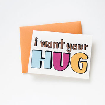i miss you card. i want your hug. hand drawn. long distance relationship. i love you. friend, boyfriend, girlfriend. just because. funny.