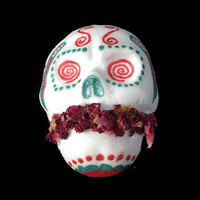 Wicked Mint Sugar Skull Bath Bomb - Peppermint and Tea Tree - natural and organic