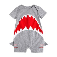 born Baby Romper Infant Jumpsuit Summer Cotton Shark Patchwork Character Rompers Baby